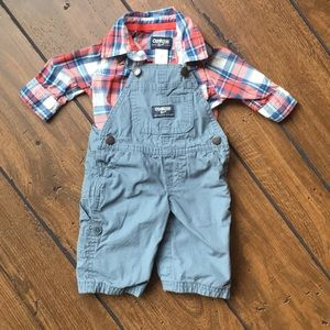 Two piece Boys flannel with overalls